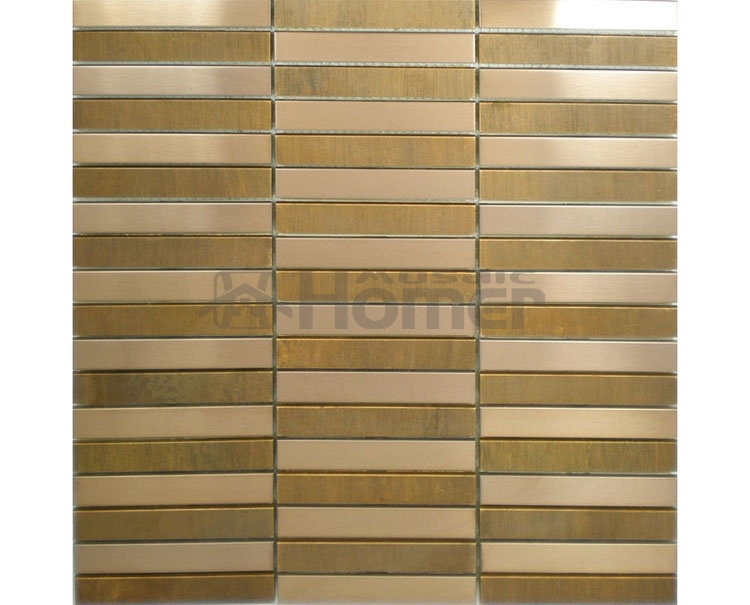 bronze and stainless steel mosaic metal wall tile strip pattern dining room wall tiles bedroom wall decor metal mosaic tiles