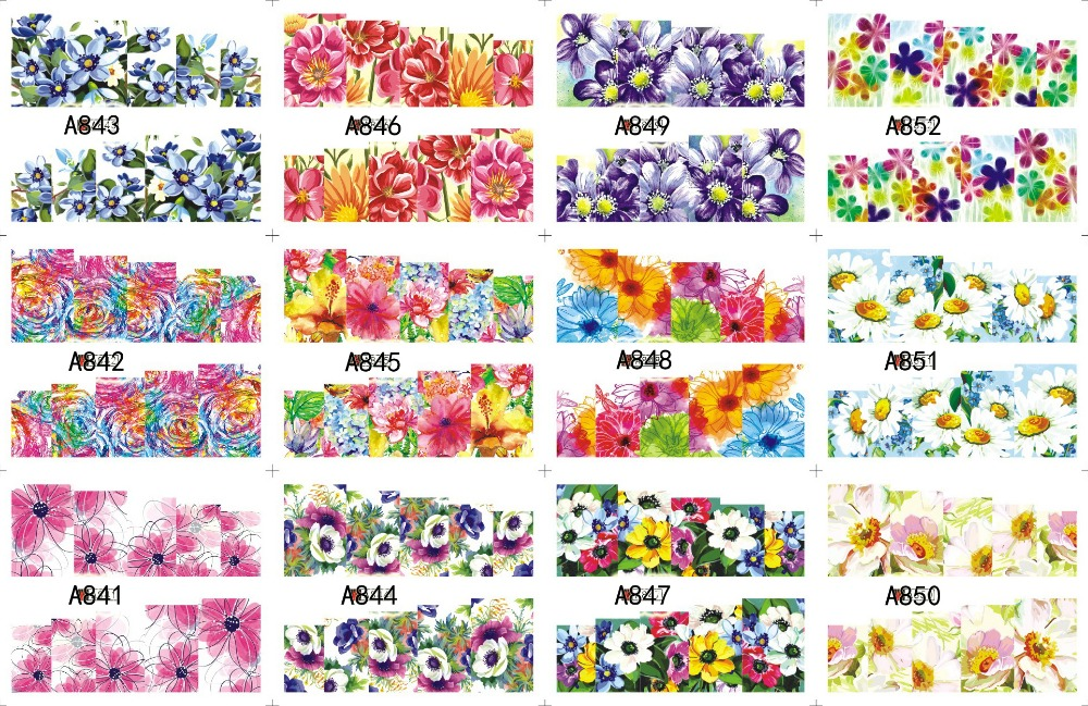 цены  12 PACK/ LOT WATER DECAL NAIL ART NAIL STICKER SLIDER TATTOO FULL COVER COCKSCOMB ROSALIE MORNING GLORY A841-852