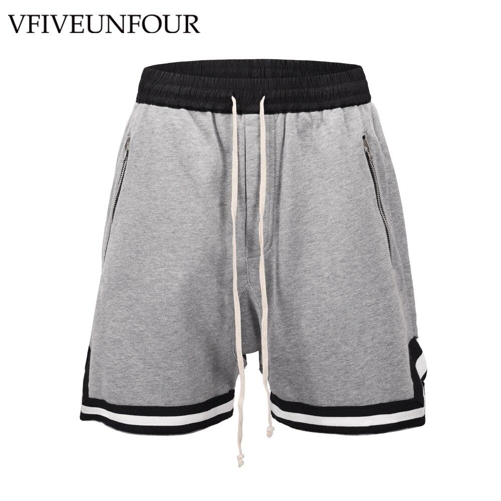 Vfiveunfour Side Color Block Patchwork Casual Shorts Men 2019 Summer Hip Hop Shorts Male Harajuku Loose Shorts Jumpsuit Men's Clothing
