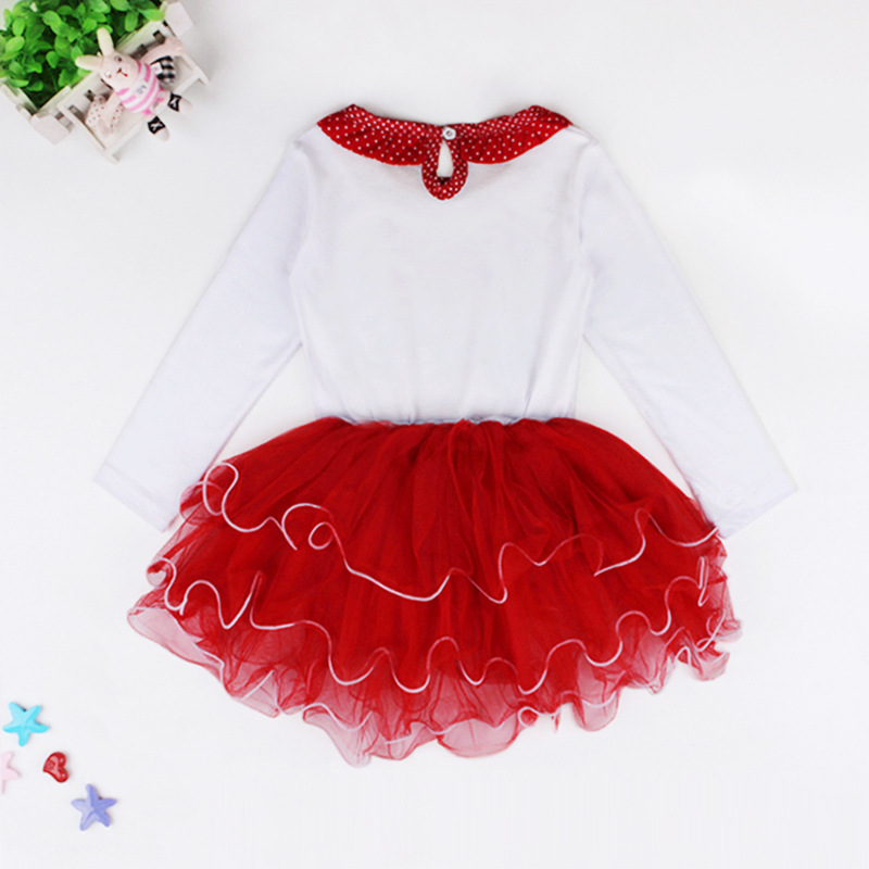 9dd535f42 Girl christmas dress red long sleeve autumn winter fall dot bow i ...
