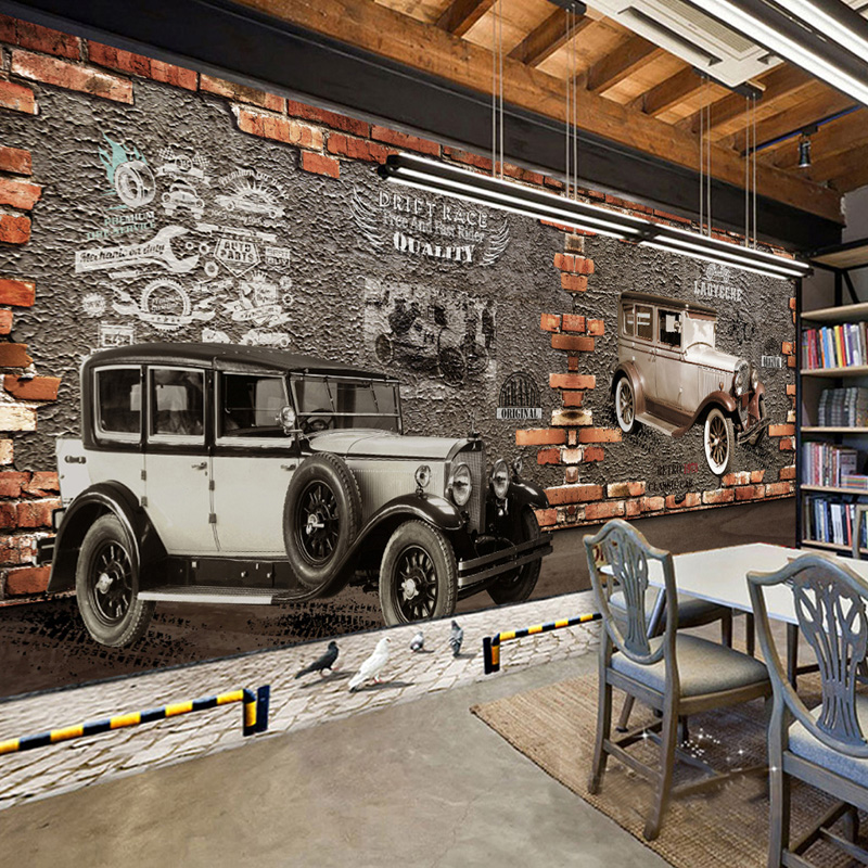 Custom Mural Wallpaper 3D Retro Vintage Car Brick Wall Murals Cafe Restaurant KTV Bar Backdrop Wall Papers Decor Papel De Parede custom photo wallpaper 3d retro wheel imitation brick wall wallpaper mural bar restaurant lounge hotel wallpaper