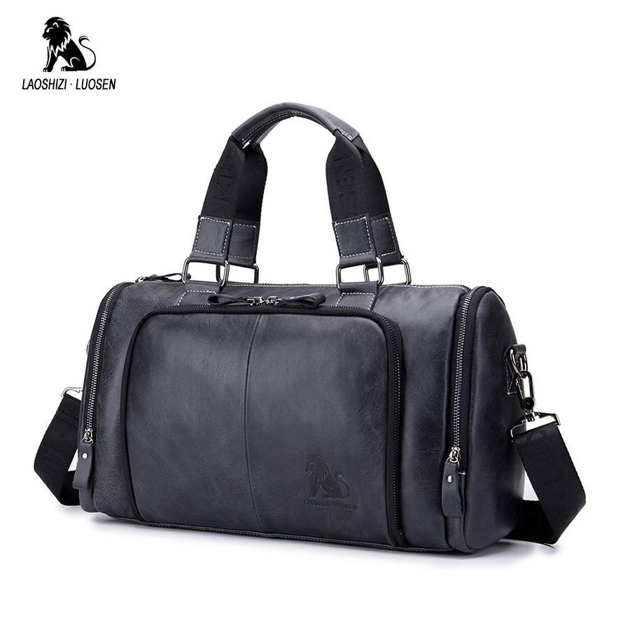LAOSHIZI LUOSEN Genuine Leather Handbag Men Travel Bags Large Capacity Big Duffel Luggage Leather Traveling Bag