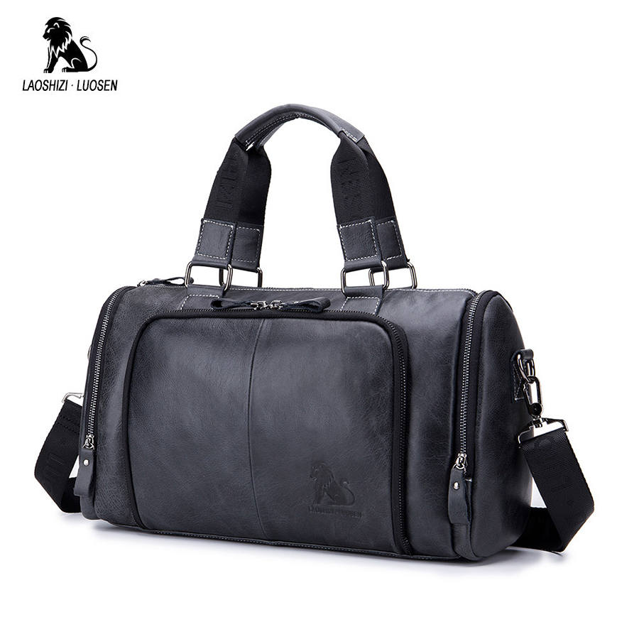 LAOSHIZI LUOSEN Genuine Leather Handbag Men Travel Bags Large Capacity Big Duffel Luggage Leather Traveling Bag Weekend Bag