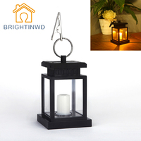 Classic Outdoor Solar Power Yellow LED Candle Light Yard Garden Decoration Tree Landscape Umbrella Lantern Hang