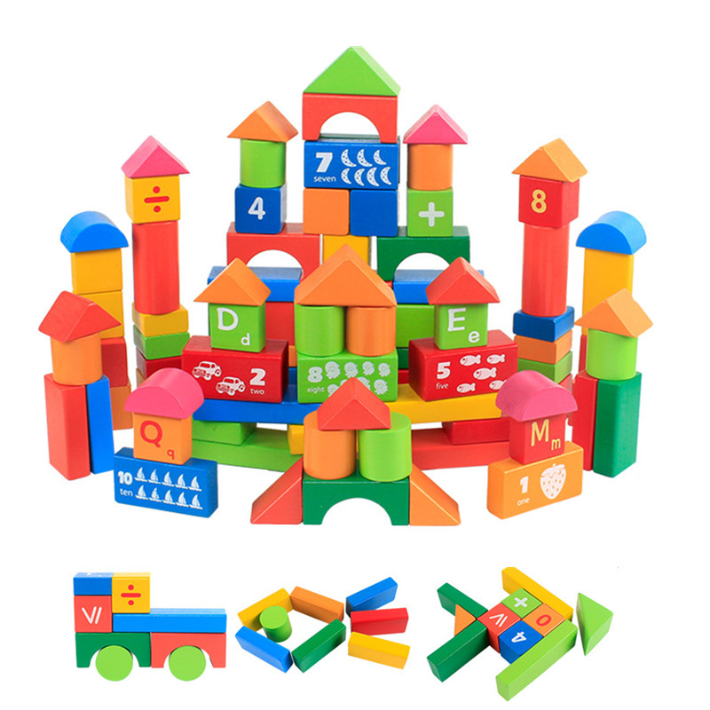 100 Pieces Cartoon Digits And Letters Wood Building Blocks Child