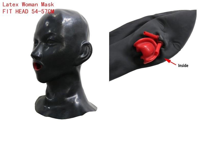 Femme Latex masque caoutchouc unisexe capuche avec bouche rouge dents lèvre face gaine langue nez tube fit tête 54-57 cm