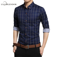 Big Size 5XL 2016 Korean Men S Plaid Cotton Shirts Male Long Sleeve Slim Fit Business