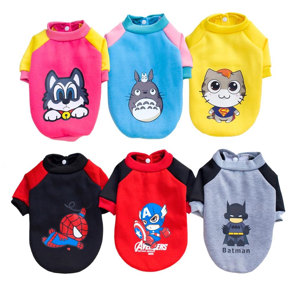 Cartoon Small Dog Clothes Sweater Coat Cute Puppy Shirts Totoro Spiderman Batman Design Superhero Chihuahua Cat Dog Costume