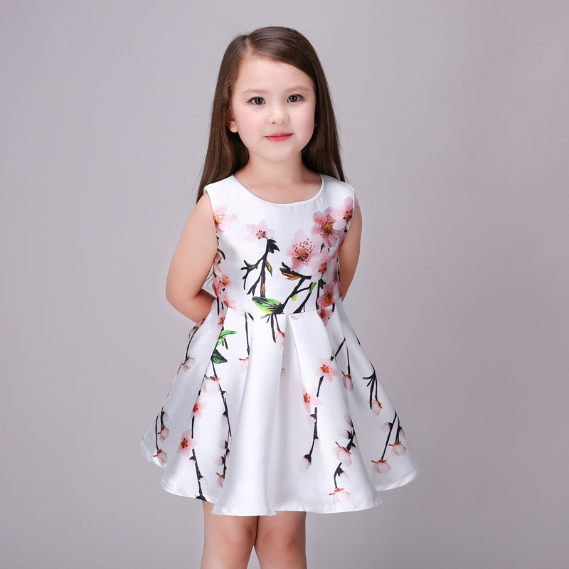 2448f24d8 Cute 2016 Summer Floral Print Baby Girls Dresses Party Tutu Draped ...