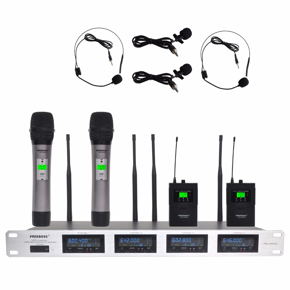 Freeboss 4 Way 4*100 Channels PLL IR Frequency UHF Wireless Microphone With 2 Metal Handhelds 2 Body pack Transmitter KTV Mic bardl us 132 2 channels uhf infrared frequency lcd 200 frequency adjustable wireless microphone handheld lavalier headset