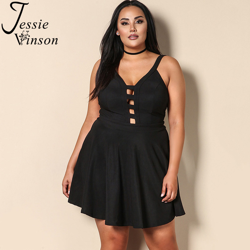 Jessie Vinson Sleeveless Backless Hollow out Plus Size Mini Dress Women Sexy V neck Short Strap