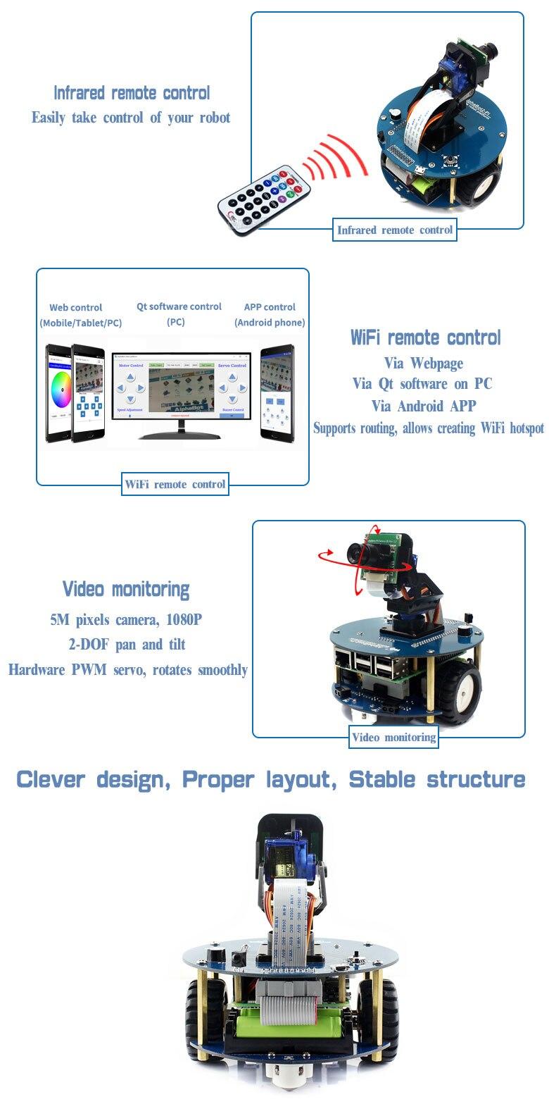 3 AlphaBot2 kit robô com Original Raspberry Pi Modelo BCâmera RPi (B) controle remoto IR