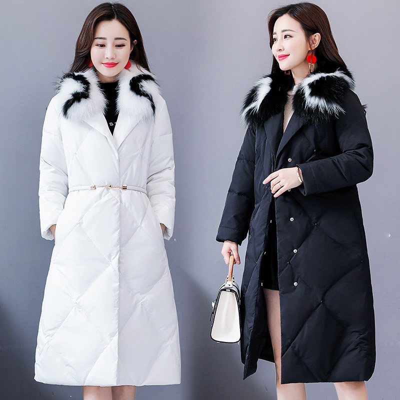 High Quality Women White Duck   Down   Jacket Fox Fur Collar   Down     Coats   Slim Adjustable Waist Hooded Warm Thicken Long   Down   Parkas