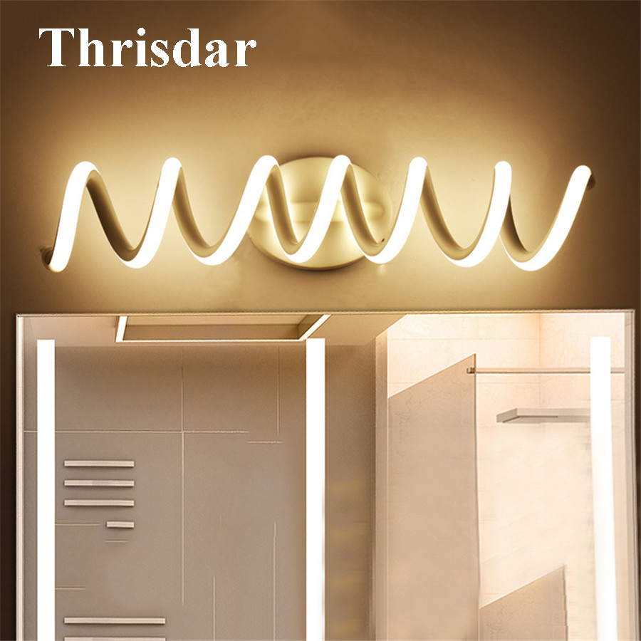 Thrisdar Spiral Shape Bathroom Mirror Wall Lamps Nordic Anti-fog Dressing Table Toilet Mirror Lamp Bathroom Vanity Mirror Light 40cm 12w acryl aluminum led wall lamp mirror light for bathroom aisle living room waterproof anti fog mirror lamps 2131