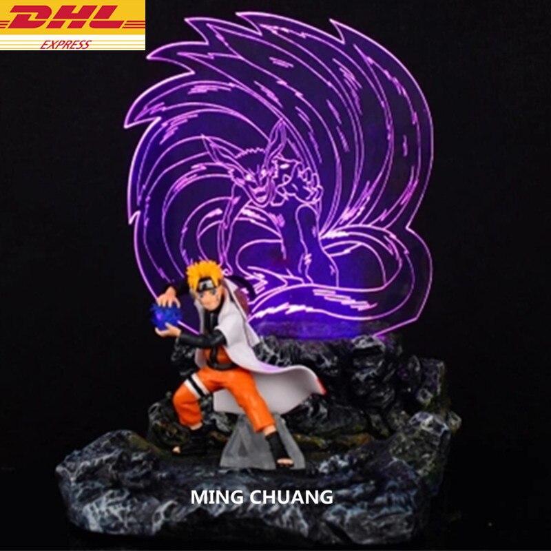 Статуя Наруто Uzumaki Kurama лиса хвост зверь бюст 3D светящийся Полный Длина Портрет Фигурка Коллекционная модель игрушки D232