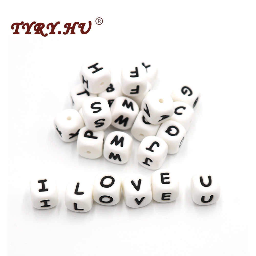 TYRY.HU BPA Free 10Pcs Letter Silicone Beads Baby Teething Necklace 26 Alphabet Teether Bead Girl DIY Jewelry Bracelet Crib Toy