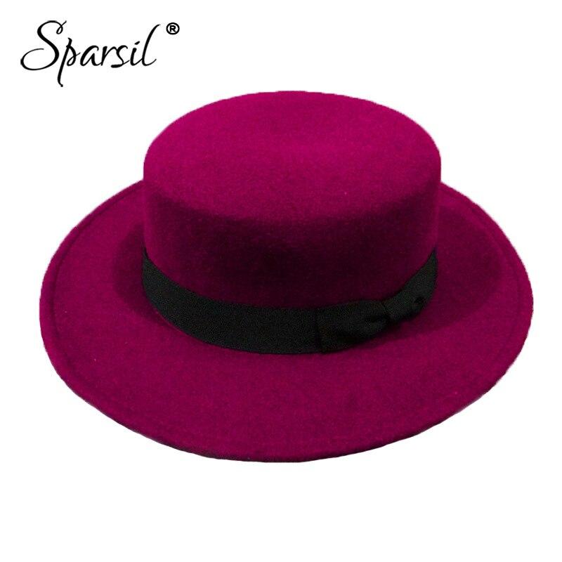 100% QualitäT Sparsil Neue Vintage Filzhüte Britischen Stil Bowknot Flachen Hut Für Damen Trendy Wollfilz Bowler Männer Fedora Hut Für Mädchen Jungen