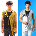 2016 Fashion New Nightclub Male Gold silver Tassel Vest costume Party show stage performance wear male Ds Dj Suit Vest