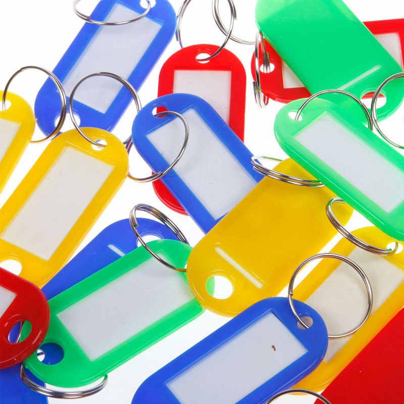 30 pcs/lote nhựa Keychain khoảng trống quan trọng ring ID thẻ nhãn cho hành lý chèn giấy thẻ hành lý ngẫu NHIÊN COLOR Key Chain