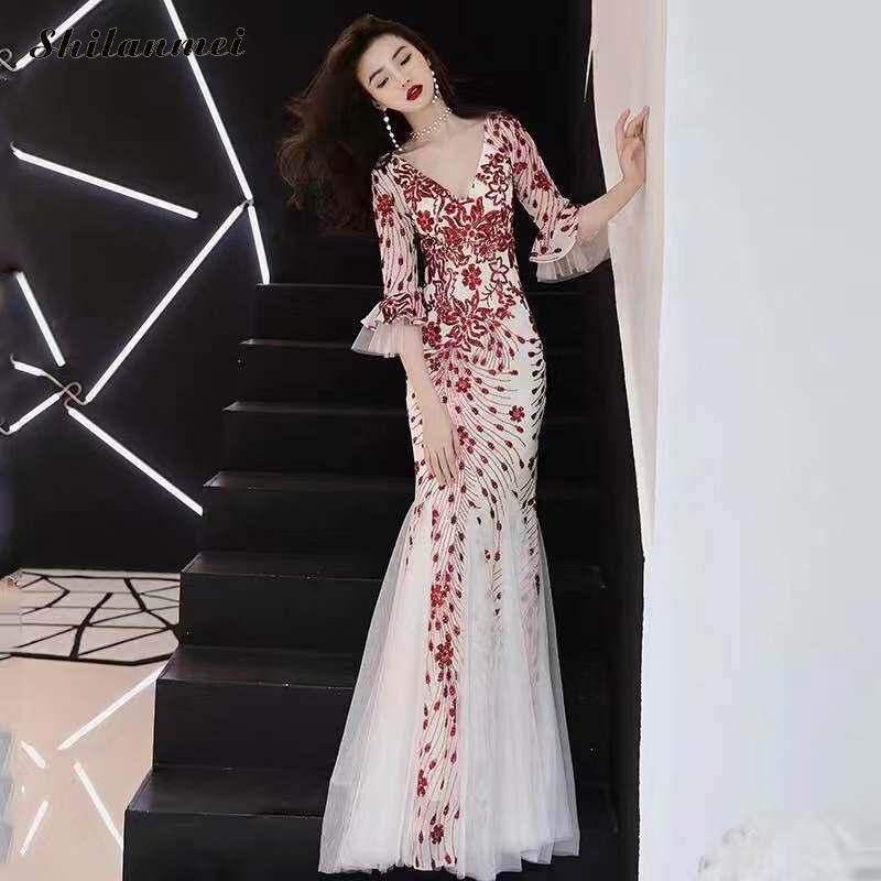 Vintage Woman Cotton Slim Sequin Long Dress Half Sleeve Deep V Sexy Backless XS 3XL Fashion