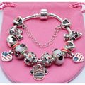 Popular Jewelry New European Bracelets Mickey Minnie Charm Beads Fits Original Bracelets & Bangle Cartoon Exquisite Bracelet DIY