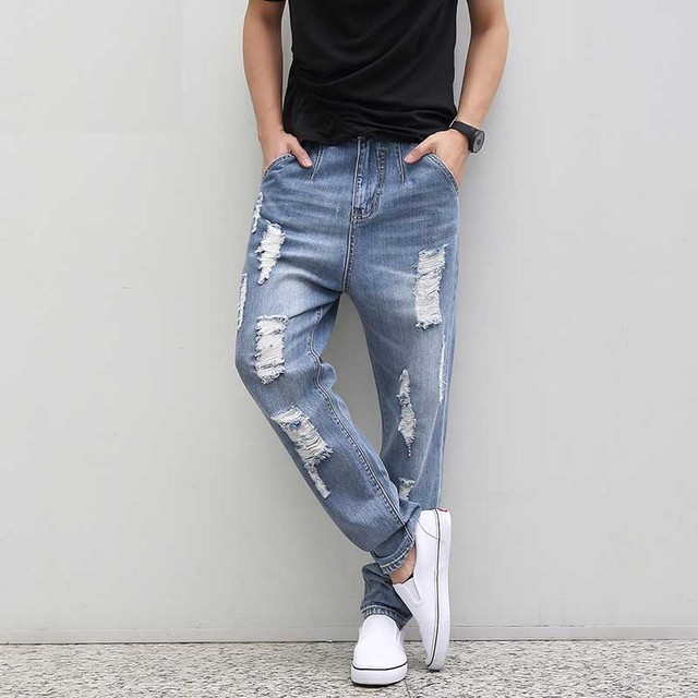 Aliexpress.com : Buy Plus Size Ripped Jeans For Men Loose Hole ...