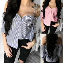 Fashion Women Striped Blouse Off Shoulder Ladies Summer Long Sleeve Shirt Loose Casual Blouse Tops And Blouses Shirt Camisa girls embroidery detail striped off shoulder blouse
