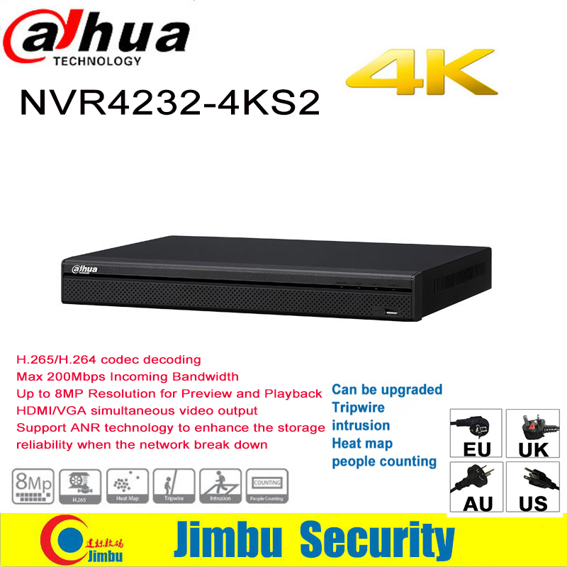Dahua NVR 4k 32CH NVR4232-4KS2 H.265/H.264 Up to 8MP Resolution Max 200Mbps Support ANR technology DVR For IP Camera dahua 32ch nvr 16 poe 2u case 8 sata 1080p 200mbps gigabit rj45 android ios