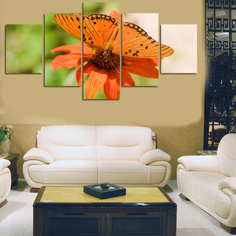 Modern HD Printed Painting Framework 5 Panels Butterfly Flower Wall ...