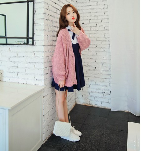 Online Shop Korean wild pink sweater coat | Aliexpress Mobile