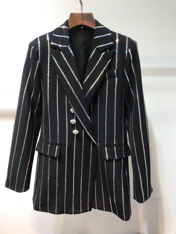 Manteau 2019 Printemps Paillettes Rmsx Rayé Mode Blazer Femmes 2 28 xO77Pnafwq