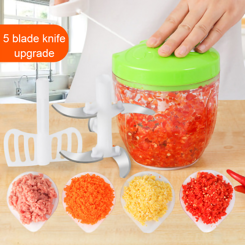 VOCORY 900ML/600ML Powerful Meat Grinder Hand power Food Chopper Mincer Mixer Blender to Chop Meat Fruit Vegetable Nuts Herbs