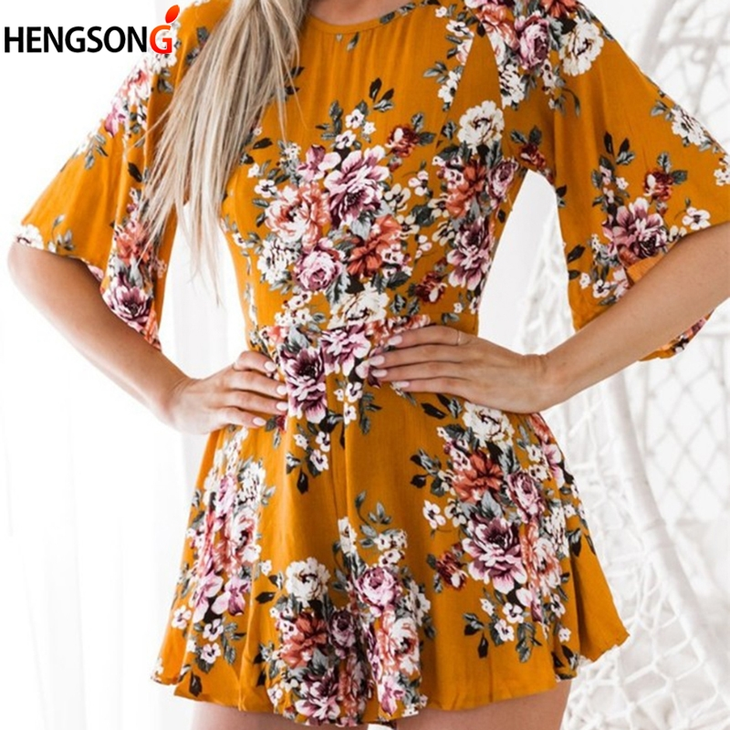 New Autumn Backless Women Dress Round Neck Flare Sleeve Loose Floral Printed Prairie Chic Female Casual Mini Dress For Lady