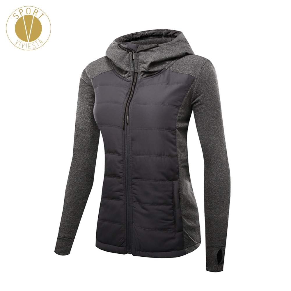 Slim Fit Quilted Puffer Jacket Women s Gym Yoga Sports Winter Long Sleeves Thick Filled Insulated