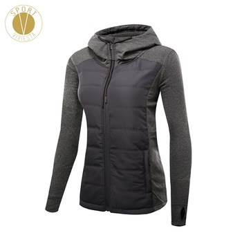 Slim Fit Quilted Puffer Jacket Women's Gym Yoga Sports Winter Long Sleeves Thick Filled Insulated Padded Hooded Windbreaker