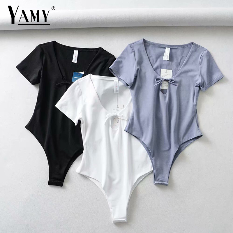 bodycon white bodysuit women <font><b>kawaii</b></font> bow tie sexy black short sleeve streetwear Summer 2019 korean streetwear image