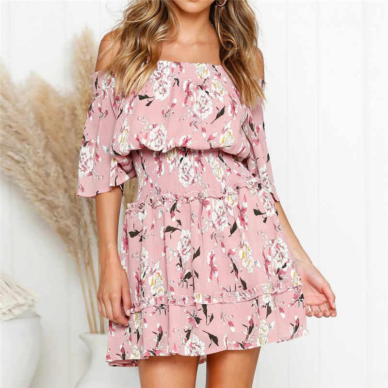 Женское сексуальное платье с открытыми плечами, модное платье с цветочным принтом, мини-платье, повседневное летнее шифоновое платье с оборками