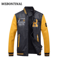 WEBONTINAL Bomber Jacket Men Casual Winter Windbreaker Black PU Faux Leather Jackets Pilot Thick Brand Man