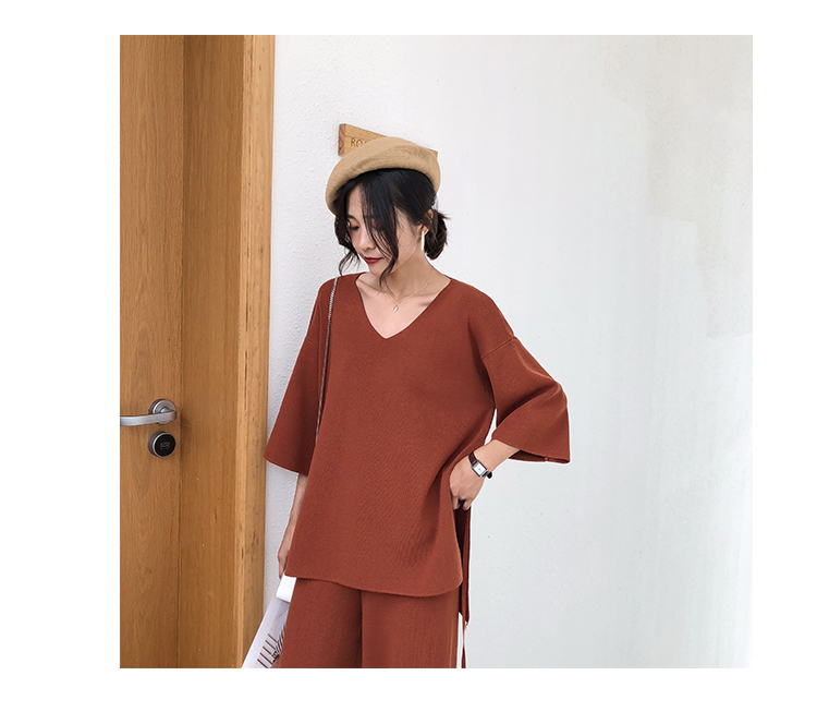 Knitting Female Sweater Pantsuit For Women Two Piece Set Knitted Pullover V-neck Long Sleeve Bandage Top Wide Leg Pants  Suit 12