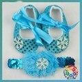 Floco de neve Elsa Sapatos Da Menina Do Bebê + Headband 3 Pcs Set Elsa neve Azul Lantejoula Bowtie Calçados Infantis Meninas Princesa Sapatos Da Criança 0-18 M