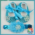 Snowflake Elsa Baby Girl Shoes + Headband 3Pcs Set Elsa Snow Blue Sequin Bowtie Shoe Infant Girls Princess Toddler Shoes 0-18M
