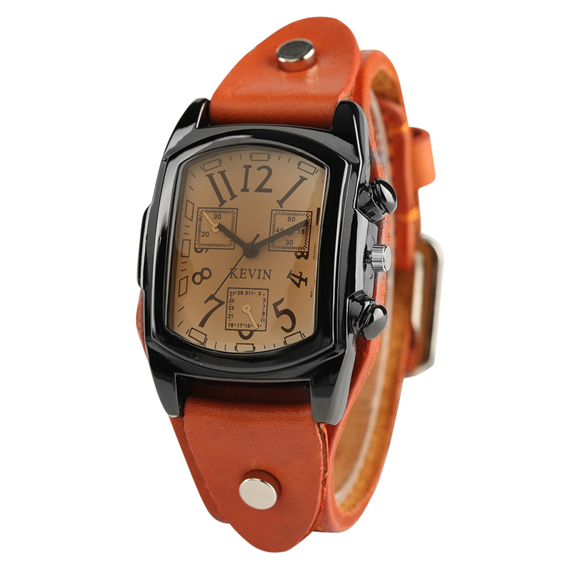 KEVIN Rectangle Quartz Wrist Watch Mens Punk Cool Black Brown Leather Watch Strap Fashion Mens Watches Best Gifts
