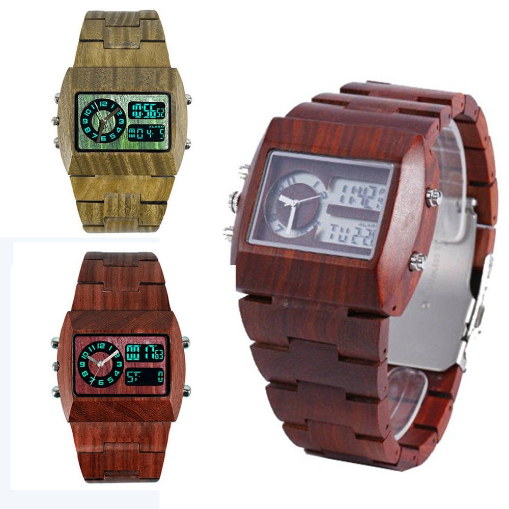 2018 Top Brand Designer Mens Wood Watch Men Wooden Wristwatch LED Bamboo Quartz Watches for Men Japan Miyota W3316 Watch Men woodfish bamboo wood watch for mens simple quartz watch handmade high quality wooden wristwatch wood leather strap available