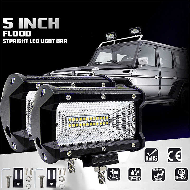1pcs 72W LED Work Lights 12V Light Bar 5 Inch 4D LED Lamp for Auto Fog Lamps for Tractor Boat Car Truck SUV ATV Motorcycle