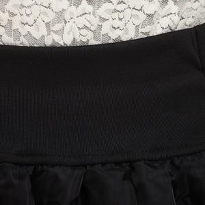 Image 2 - Женская юбка пачка с цветочным принтом Zuolunouba, мини юбка с бантом, эластичные кружевные шорты с высокой талией, большие размеры, лето 2018