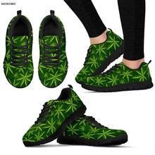 INSTANTARTS Green Hemp Weed Leaf/Maple Leaves Printing Woman Man Running Shoes L