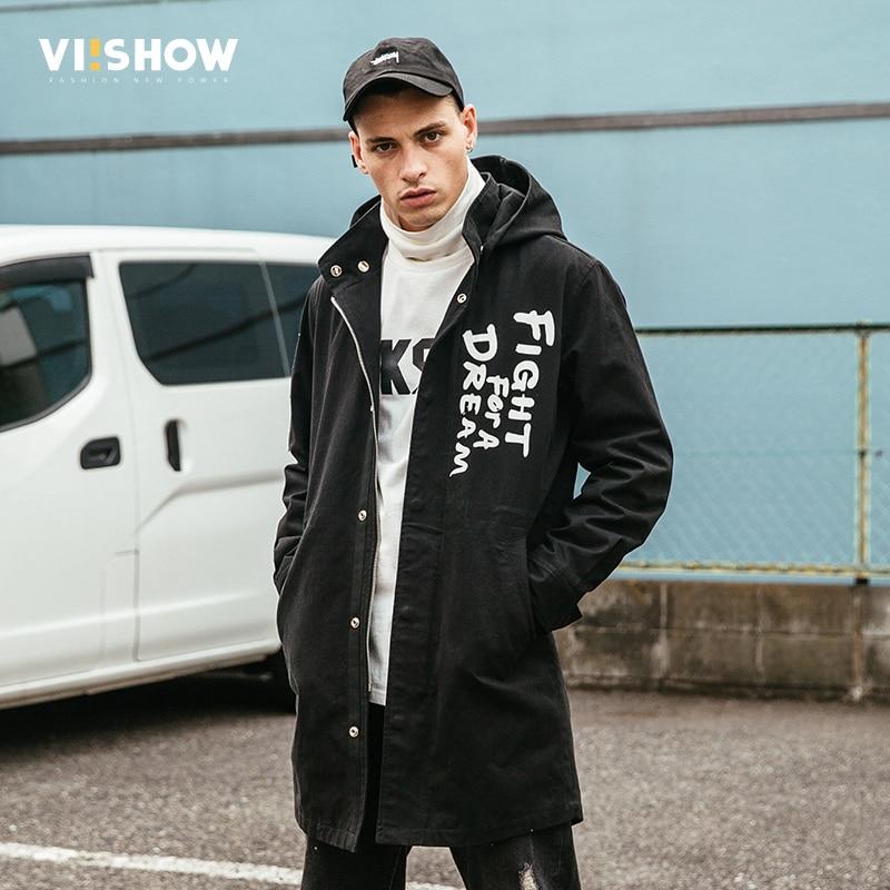 VIISHOW 2018 New Trench Coat Men Brand Clothing Top Quality Male Long Black Trench Coat Windbreaker Side Pocket Jacket FC2074173
