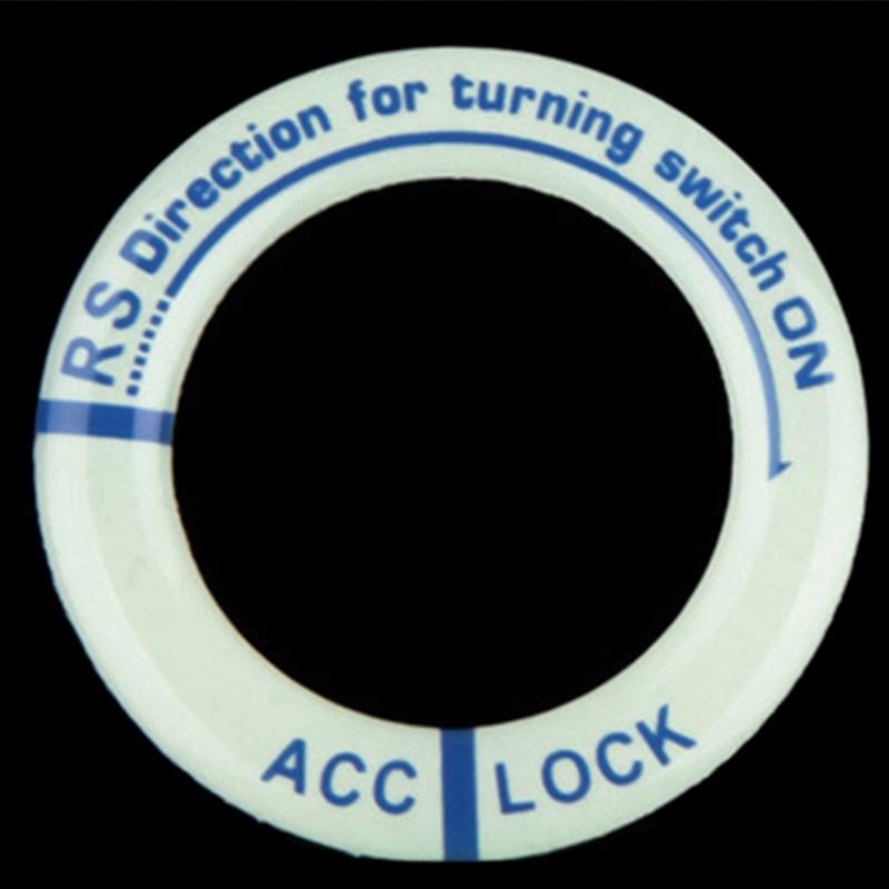 Светящееся кольцо для ключей, декоративная наклейка, автомобильный стиль, переключатель зажигания, защитная наклейка, авто аксессуары для интерьера - Название цвета: Синий
