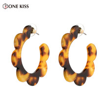 2018 New Fashion Lovely Acrylic Resin Geometric Stud Earrings For Women Multicolor Statement Large Earrings Party Jewelry(China)