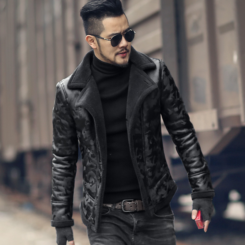 Black men winter warm camouflage fur lamb woolen casual jacket men fur collar plush faux leather jacket coat European style 2017